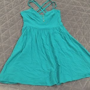 Teal Express strappy mini with POCKETS, size XS.